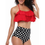 New High Waist Split Halter Ruffled Collar Swimwear