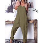 New Solid Color Spaghetti Straps Cotton Jumpsuit with Pockets