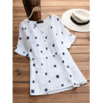 New Women Casual Geometric Print Short Sleeve Loose Blouse