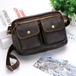 New Men Genuine Leather Plain Business Bag Waist Bag Shoulder Bag Crossbody Bag