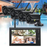 New 4Pcs Digital Wireless CCTV Camera Waterproof 7inch LCD Monitor DVR Record Home Security System