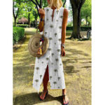 New Women Casual Print V-Neck Sleeveless Split Hem Dress