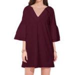 New Women V-Neck Flared Sleeve Half Sleeve Mini Dress