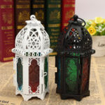 New Vintage Moroccan Hollow Iron Lantern Tea Light Hanging Candle Holder Candlestick