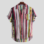 New Mens Fashion Colorful Pockets Design Casual Shirts
