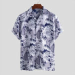 New ChArmkpR Men Tropical Plants Printed Hawaiian Casual Shirts