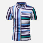 New Mens Colorful Striped Printed Comfy Golf Shirts