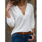 New Women Solid Color Loose Lantern Sleeve Blouse