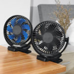New 360° Portable 3 Speed USB Clip On Timing Desk Fan Pram Car 5000mAh Rechargeable