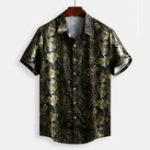 New Mens Vintage Baroque Printed Short Sleeve Loose Shirts