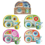 New 5 Style Bamboo Fiber Colorful Kids Meal Set Feeding Tools Plate Cup Spoon Fork Kid Bowl