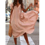 New Women Casual Cotton Solid Color V-Neck Irregular Hem Dress