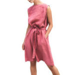 New Solid Belted Sleeveless Dress
