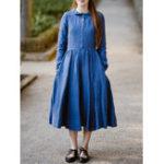 New Pure Color Button Denim Shirt Dress