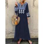 New Vintage Women Folk Style Long Sleeve Split Hem Dress