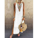 New Bohemian Sleeveless Floral Side Split Maxi Dress