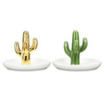 New Ceramic Cactus Jewelry Holder Storage Tray Ring Necklace Collect Creative Display Jewelry Display Stand