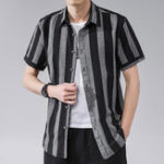 New Mens Summer Stripe Printed Short Sleeve Cotton Shirts
