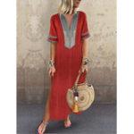 New Vintage Women Folk Style V-Neck Short Sleeve Dress