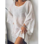 New Solid Color Crew Neck Long Sleeve Casual Dress