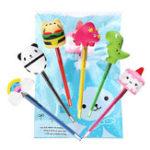 New 6PCS Squishy Pen Cap Wholesale Panda Dinosaur Unicorn Cake Animal Slow Rising Jumbo With Pen Stress Relief Toys Gift