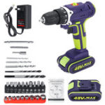 New 3 In 1 Hammer Drill 48V Cordless Drill Double Speed Power Drills LED lighting 1/2Pcs Large Capacity Battery 50Nm 25+1 Torque Electric Drill