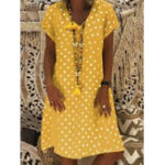 New Women Short Sleeve Polka Dot Print Casual Dress