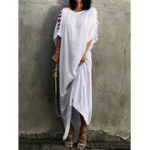 New Crew Neck Kaftan Maxi Dress