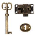 New Cabinet Door Lock Set Key Antique Jewelry Makeup Case Furniture Door Drawer Lock