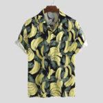 New Mens Banana Printing Casual Loose Summer Vacation Shirts
