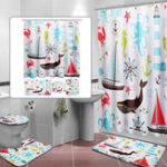 New Marine Animal Bathroom Shower Curtain Toilet Cover Bath Mat Non-Slip Rug Set
