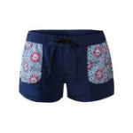 New Split Beach Printed Pocket Design Boxer Swimming Trunks