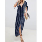 New Women Striped Button Down V-neck Short Sleeve Shirt Dress