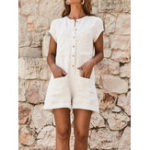 New Women Solid Cotton Linen Button Down Jumpsuit