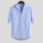 New Mens Chest Pocket Half Sleeve Loose Casual Striped Shirts