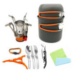 New Portable Backpacking Outdoor Picnic Set Hiking Cookware Camping Pot Bowl Stove Set Burner