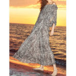 New Bohemian Off-shoulder Long Sleeve Printed Holiday Maxi Dress