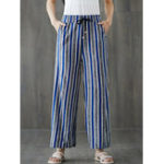 New Women Drawstring Waist Stripe Wide Leg Pants