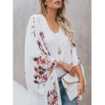 New Bohemian Floral Print Long Sleeve Chiffon Outwear Cardigans