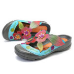 New SOCOFY Retro Genuine Leather Flowers Pattern Sandals