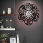 New Owl Vinyl Record Wall Clock Gear Cogs Night Owl Steampunk LED Wall Clock Home Decor Cogwheels Animal Wall Modern