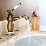 New European Antique Faucet Single Hole Full Copper Drawing Bathroom Basin Faucet Mixer Tap
