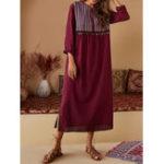 New Vintage Women Cotton Ethnic Print V-Neck Maxi Dress