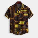 New Mens Vintage Fashion Ethnic Pattern Printing Cotton Shirts