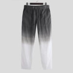 New Mens Gradient Color Drawstring Elastic Waist Fashion Pants