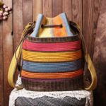 New Women Patchwork National Bucket Bag Backpack