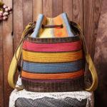 New Women Patchwork National Bucket Bag Backpack