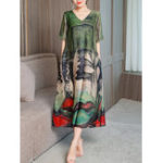 New Women Elegant Art Printed V-neck Half Sleeve Loose Dress