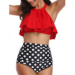 New Halter Ruffled Collar Backless Bikinis