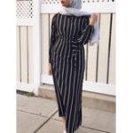 New Women Striped Flare Sleeve Maxi Dress